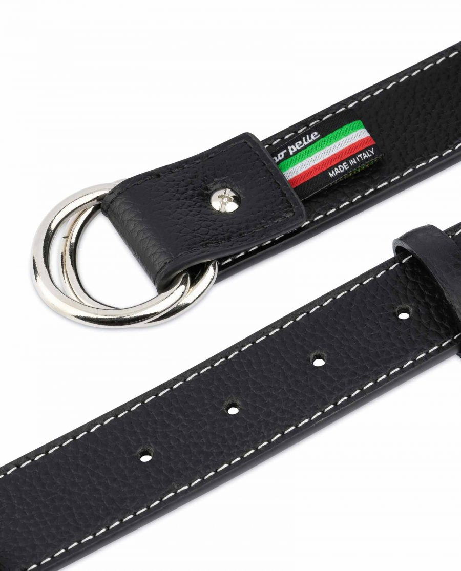 Mens D Ring Belt Black Leather 10