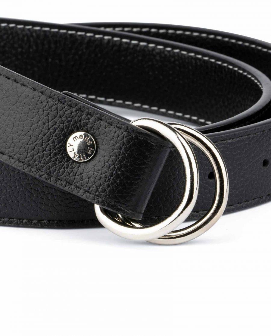 Mens D Ring Belt Black Leather 2