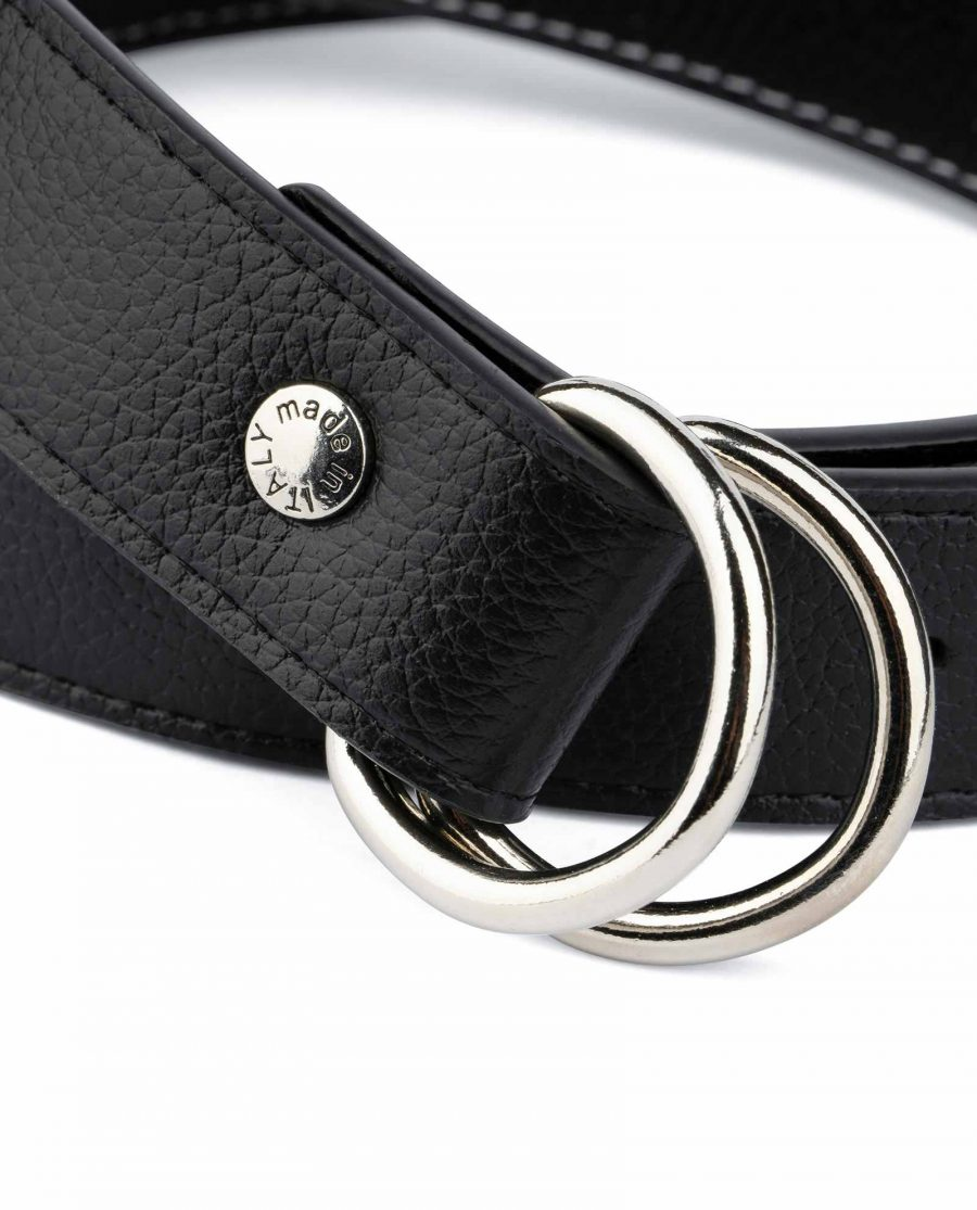 Mens D Ring Belt Black Leather 3