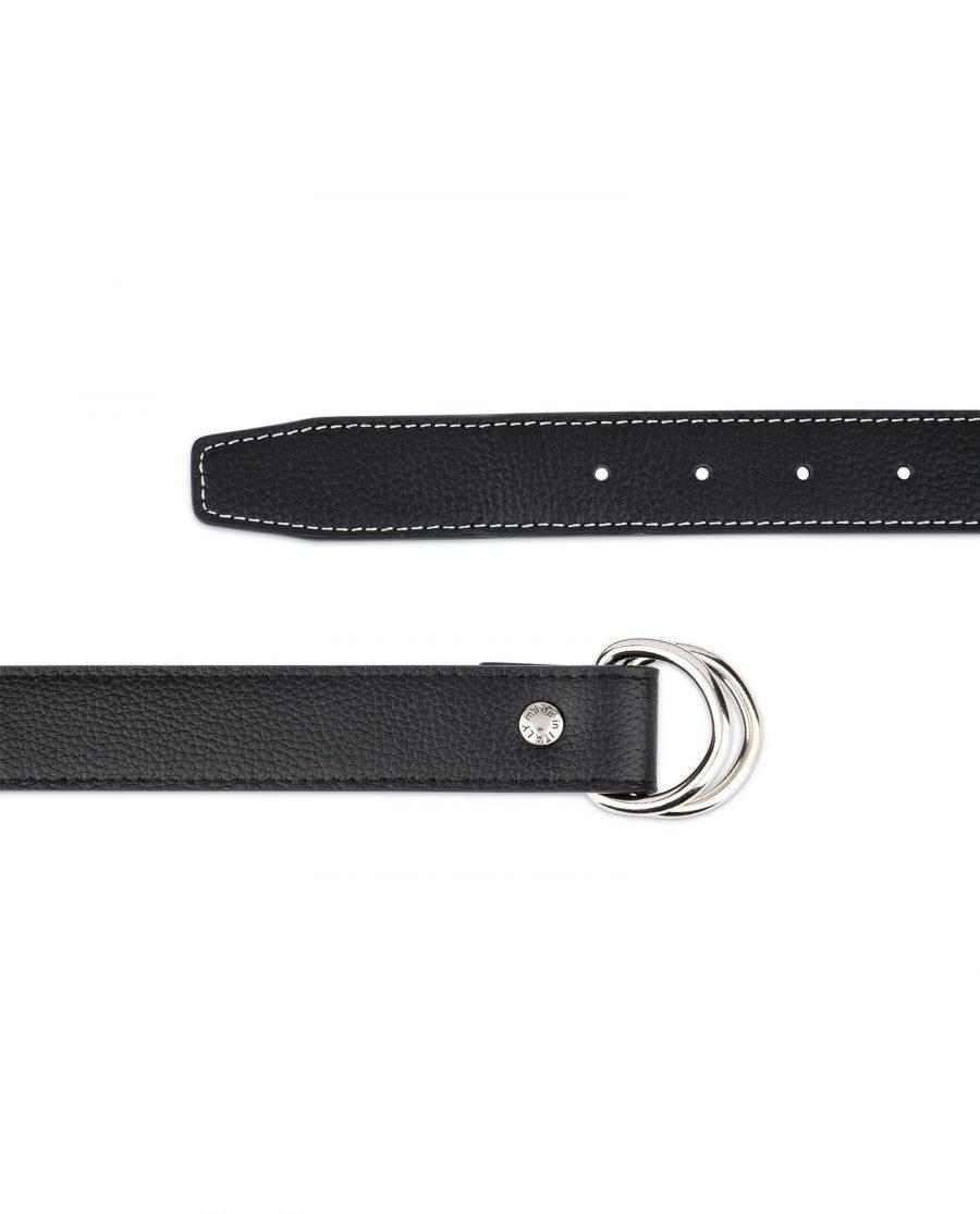 Mens D Ring Belt Black Leather 4