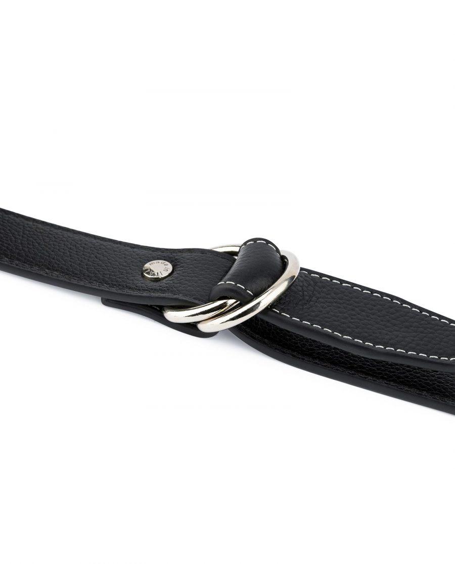 Mens D Ring Belt Black Leather 5