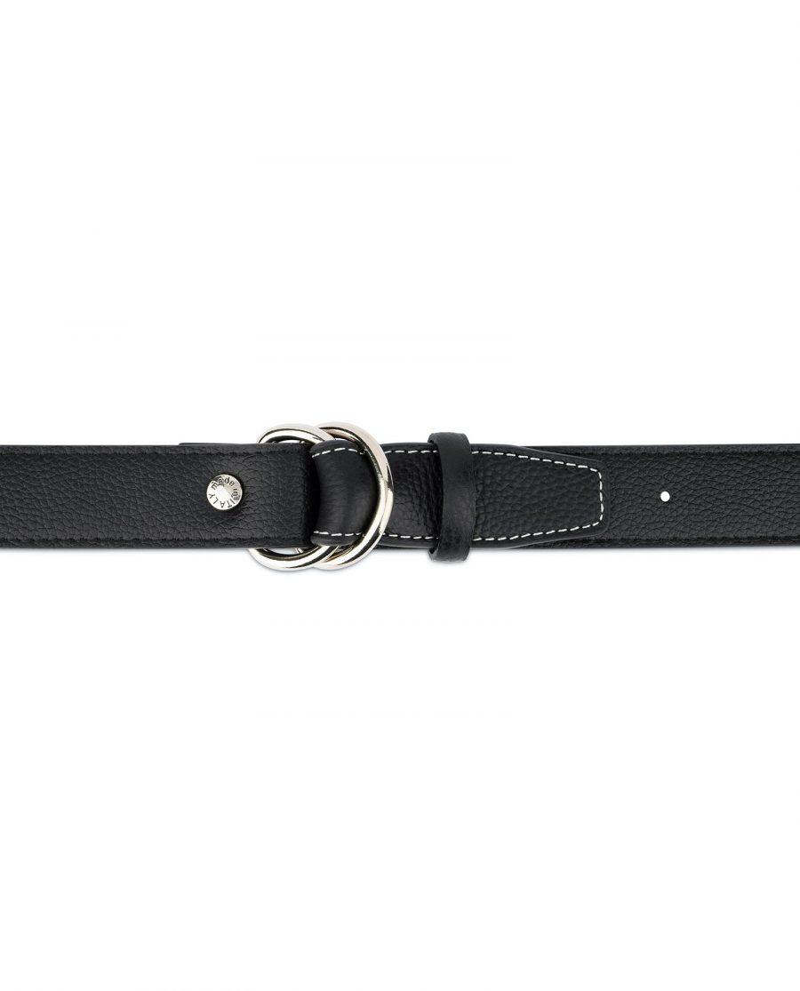Mens D Ring Belt Black Leather 8