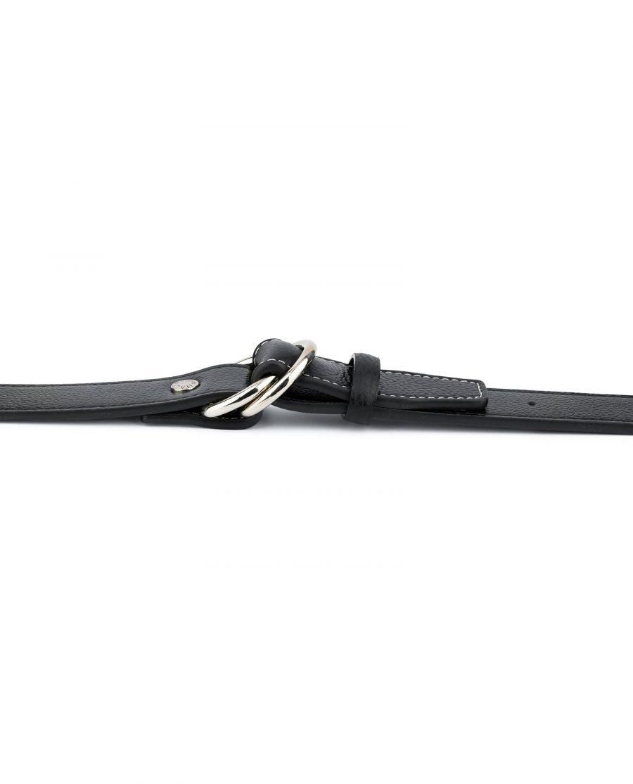 Mens D Ring Belt Black Leather 9