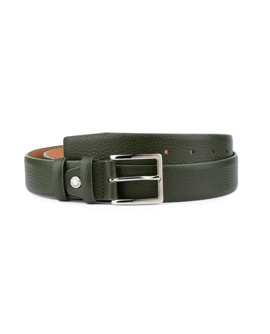 Mens Forest Green Leather Belt 1