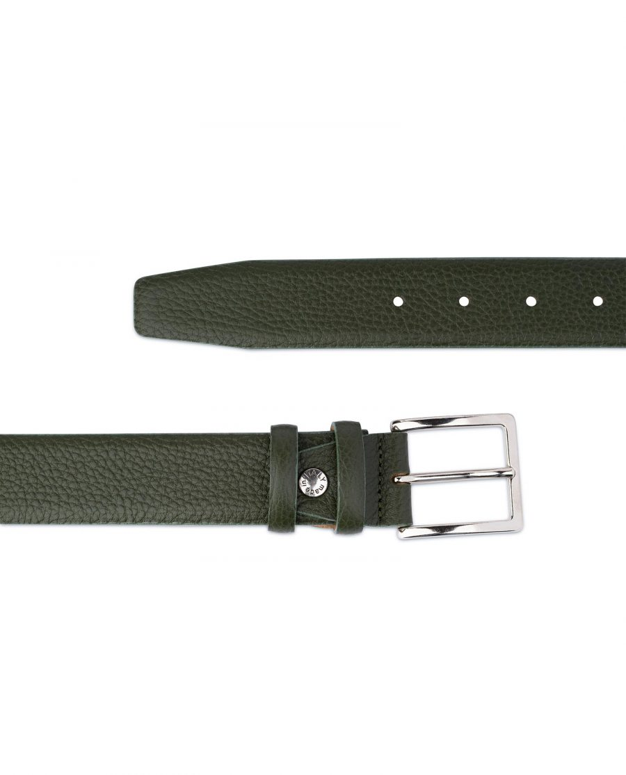 Mens Forest Green Leather Belt 2