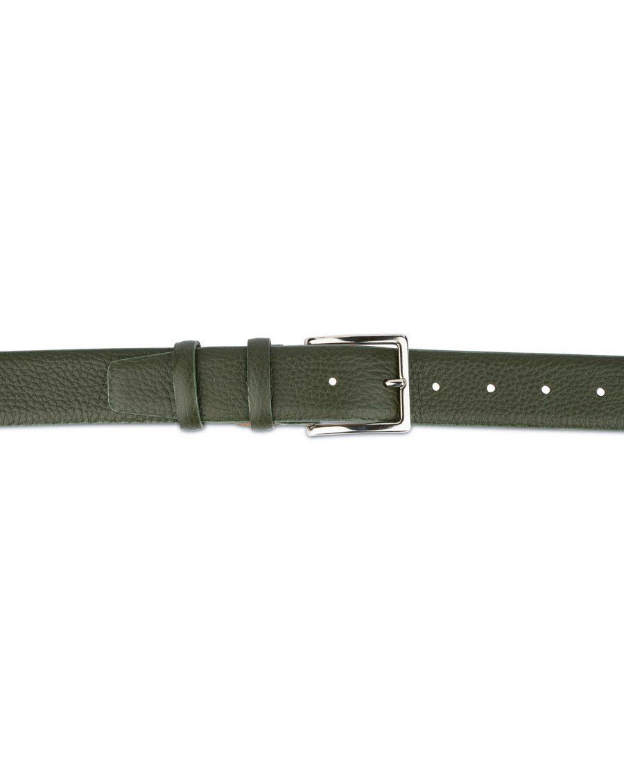 Mens Forest Green Leather Belt 3