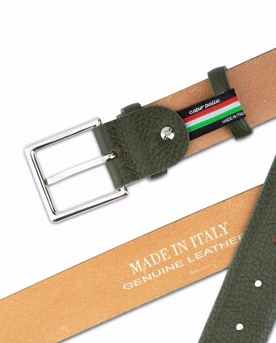 Mens Forest Green Leather Belt 5