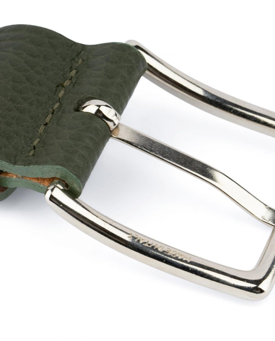 Mens Forest Green Leather Belt 6