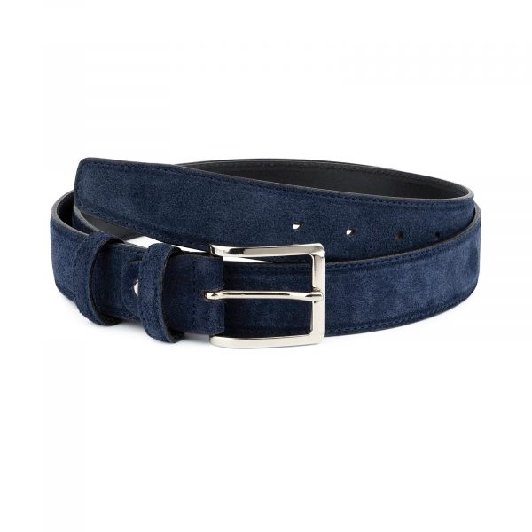 Dark Blue Suede Belt For Men 1