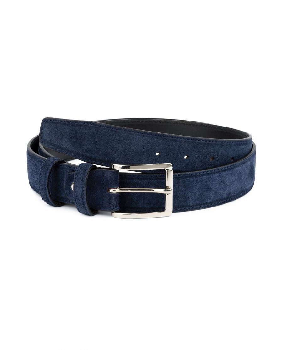 Dark Blue Suede Belt For Men 1