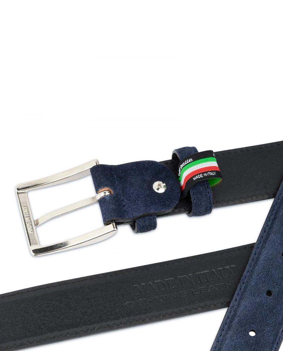 Dark Blue Suede Belt For Men 4