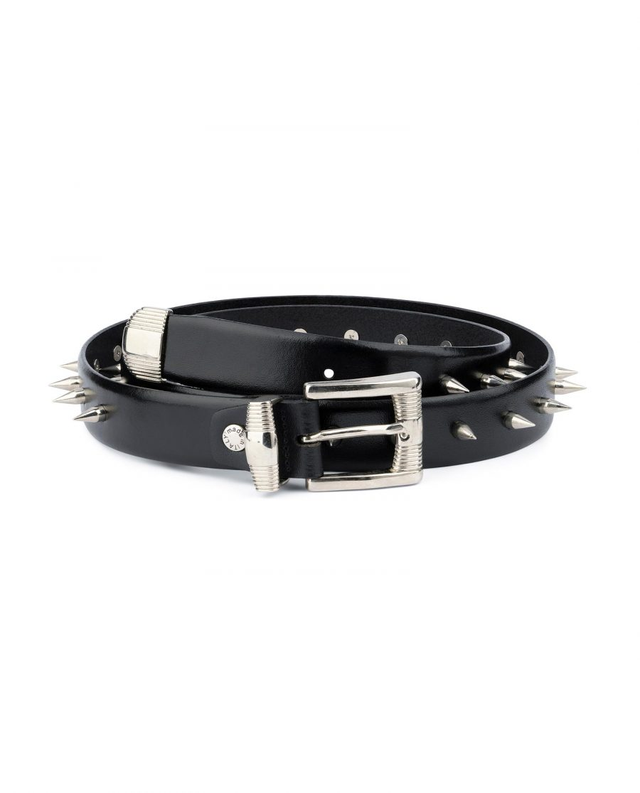 Mens Spiked Belt in Black Leather Emo Goth Punk Style 1