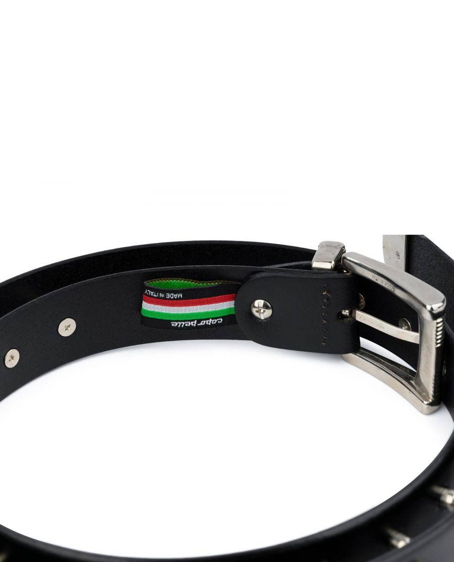 Mens Spiked Belt in Black Leather Emo Goth Punk Style 6