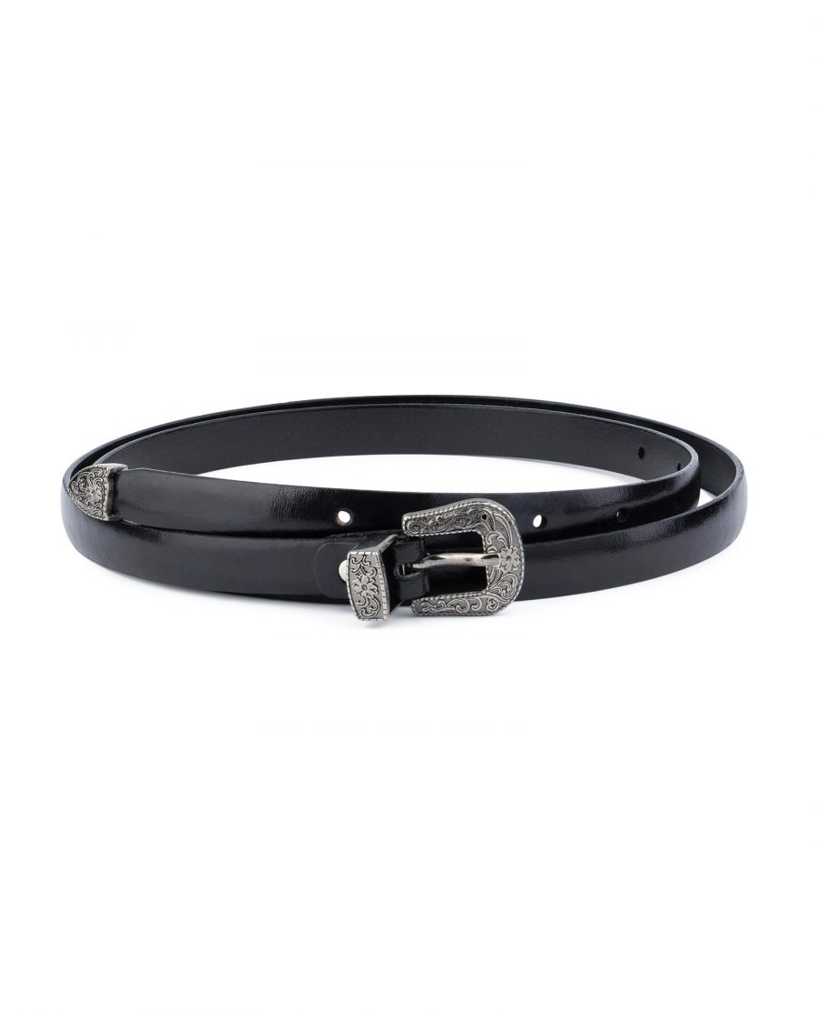 Western Belt for Women Thin Black Leather 1 5 cm 1