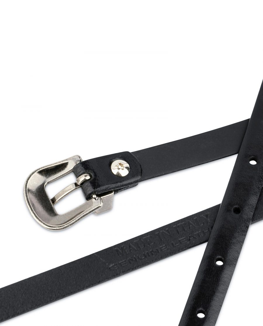 Western Belt for Women Thin Black Leather 1 5 cm 4