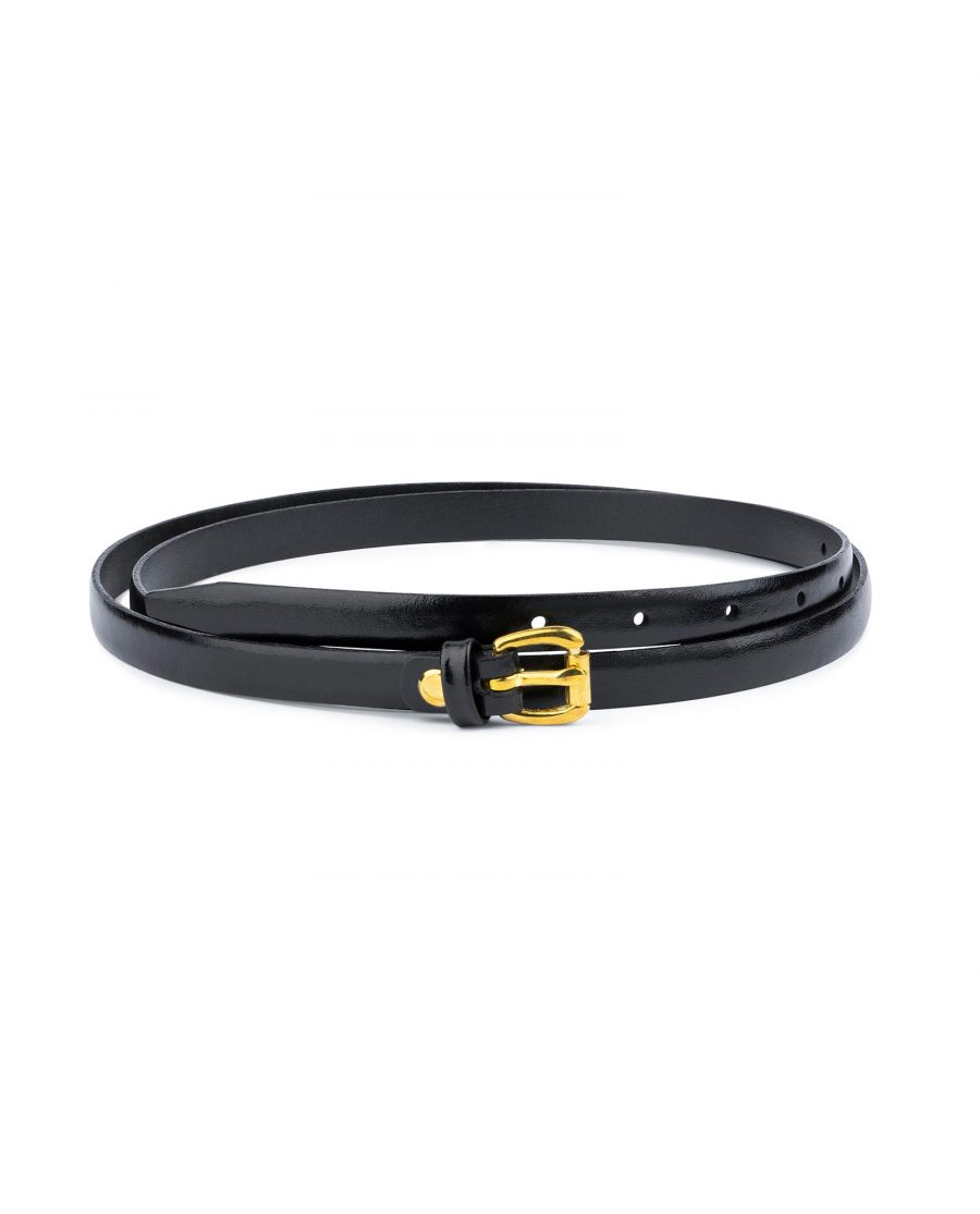 Belt With Brass Buckle Black Leather 1 5 cm 1