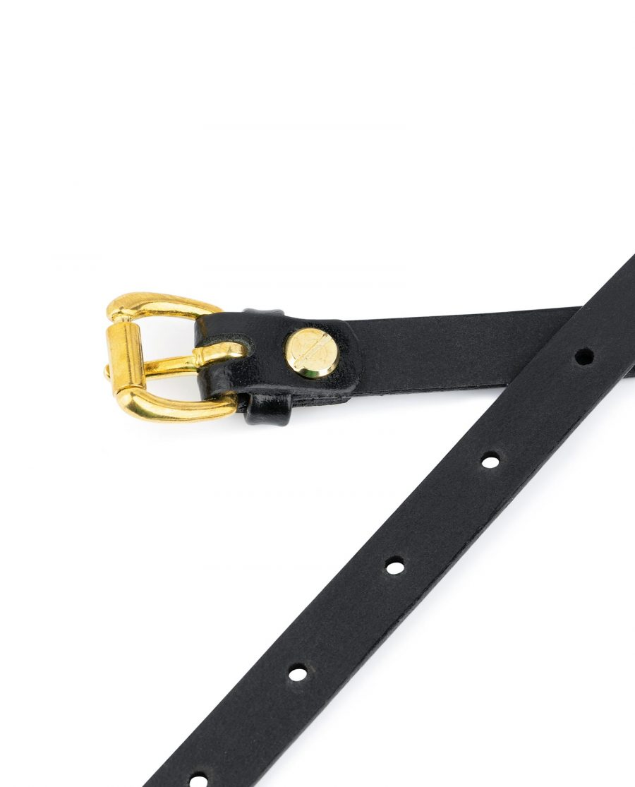 Belt With Brass Buckle Black Leather 1 5 cm 4