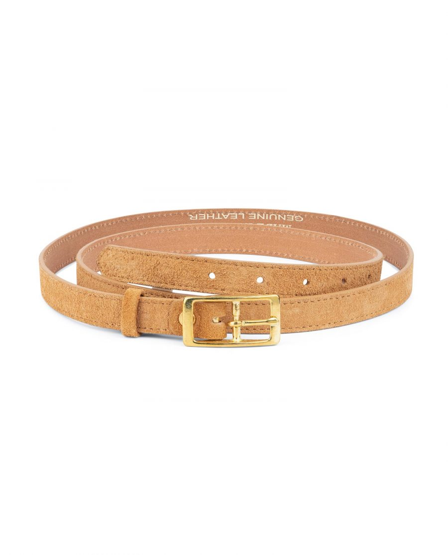 Belt With Brass Buckle Camel Suede Leather 1