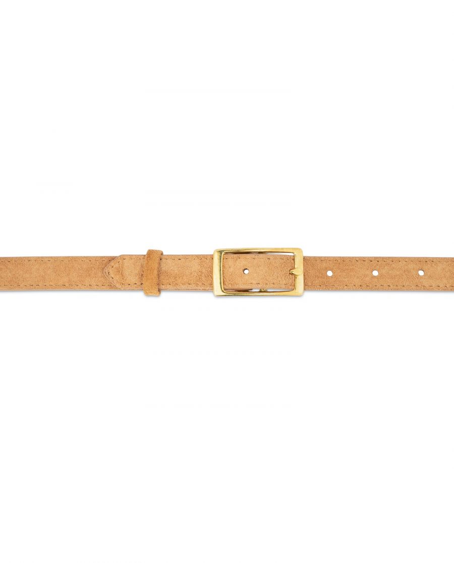 Belt With Brass Buckle Camel Suede Leather 2