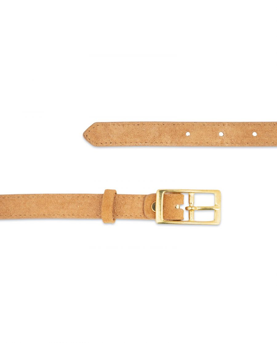 Belt With Brass Buckle Camel Suede Leather 3