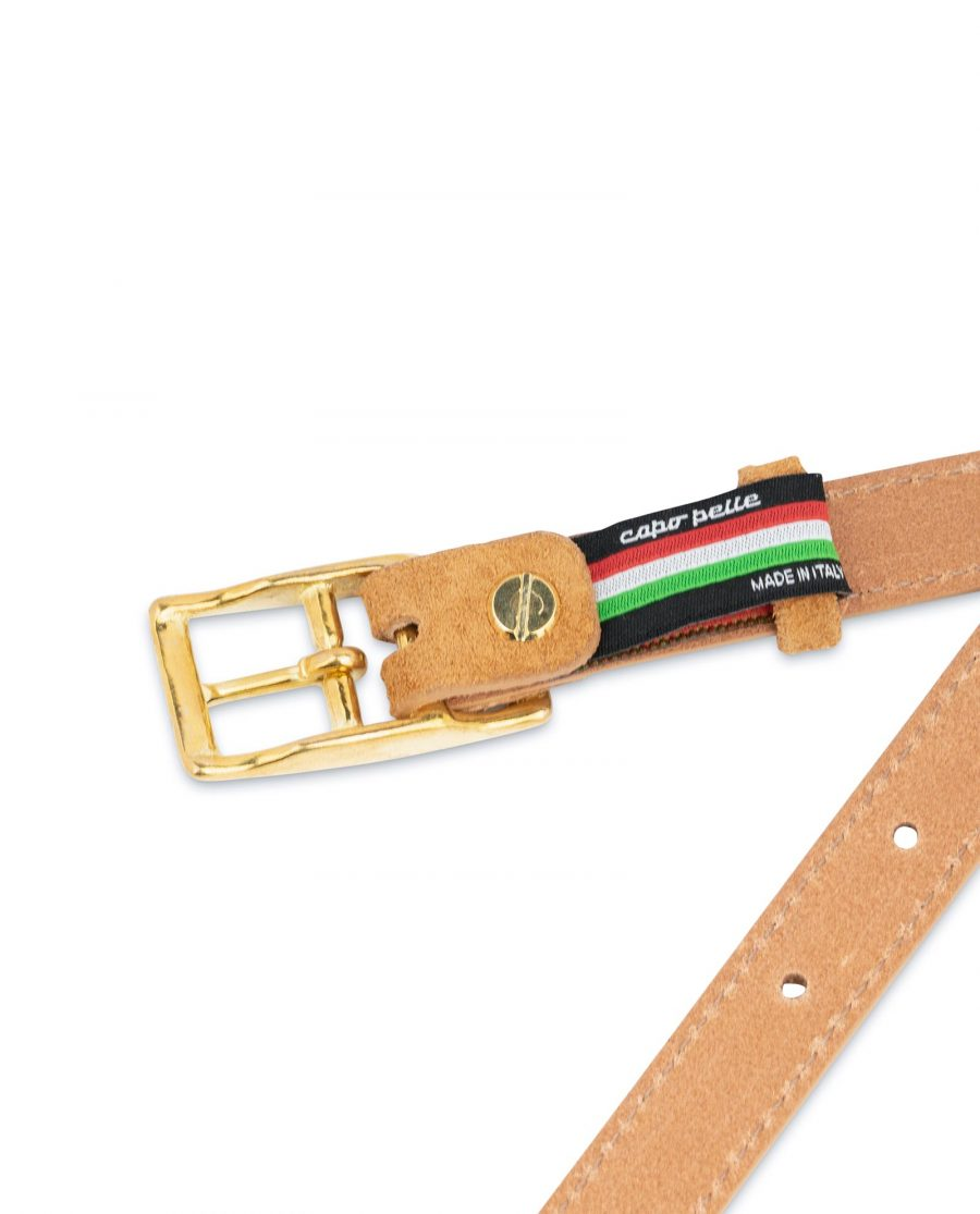 Belt With Brass Buckle Camel Suede Leather 4