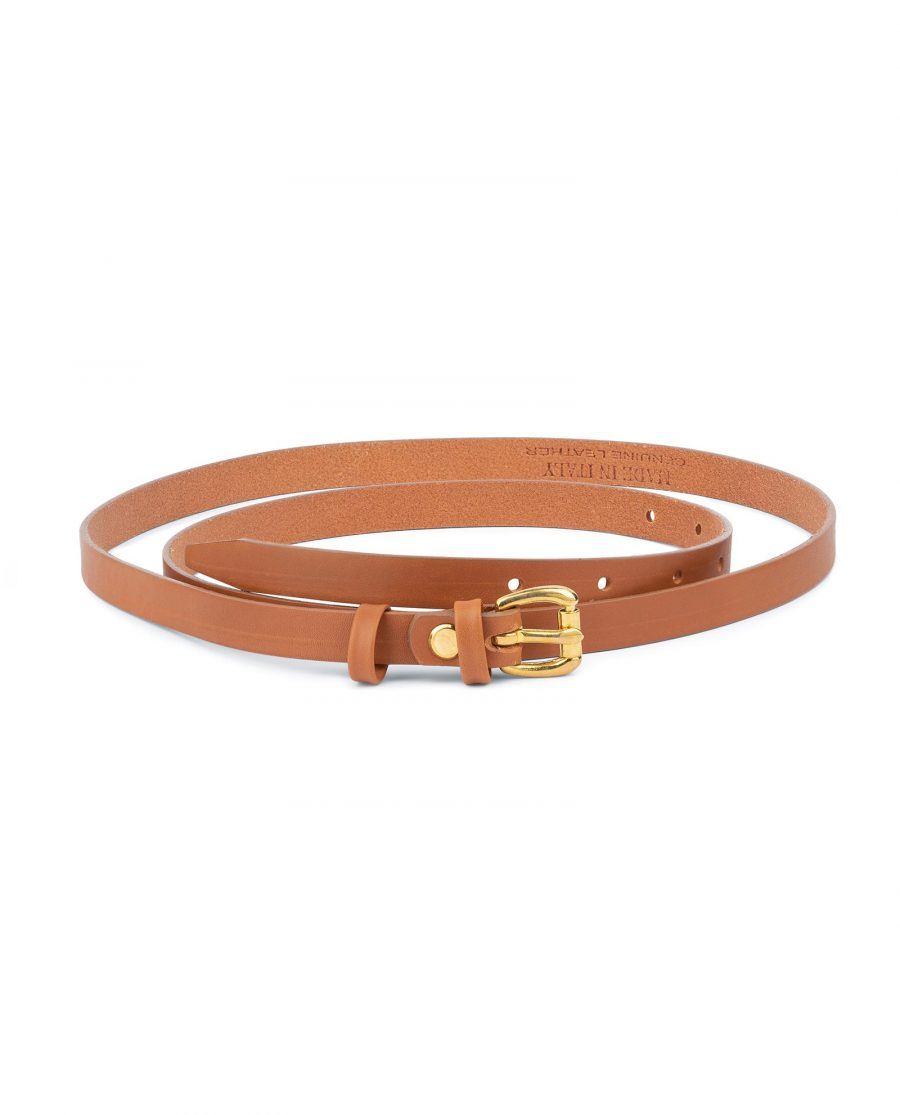Belt With Brass Buckle Tan Leather 1 5 cm 1