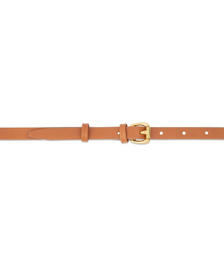 Belt With Brass Buckle Tan Leather 1 5 cm 2