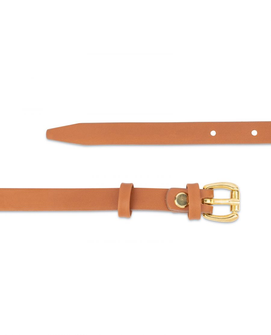 Belt With Brass Buckle Tan Leather 1 5 cm 3