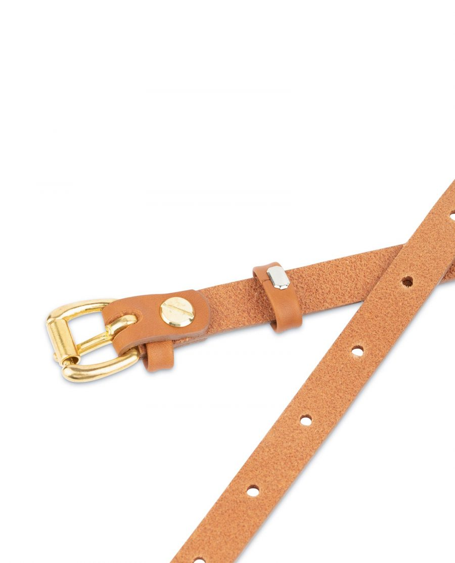 Belt With Brass Buckle Tan Leather 1 5 cm 4
