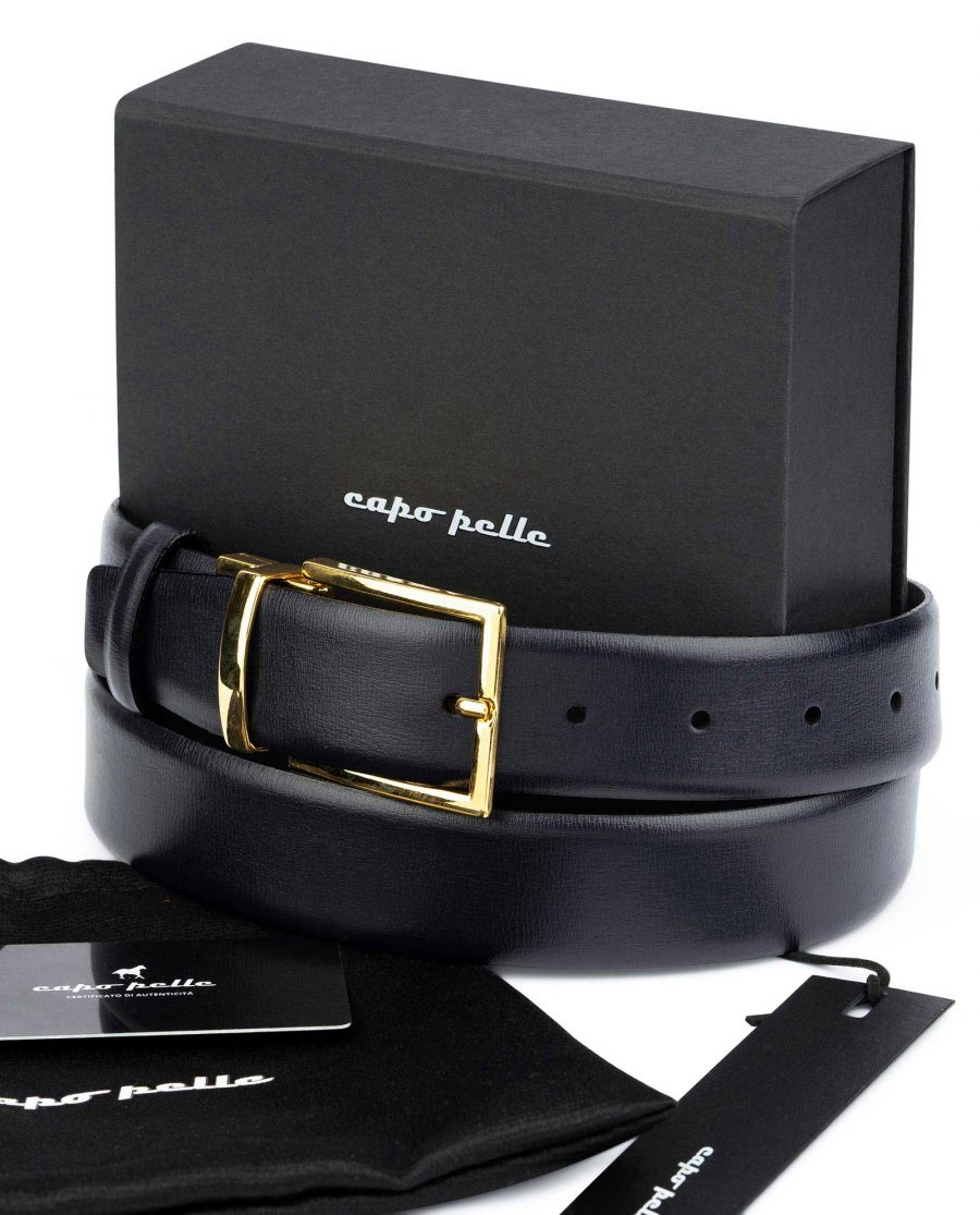 Best Gifts For Men Blue Belt With Gold Buckle