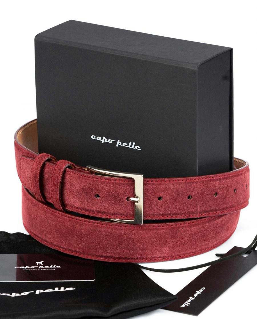 Birthday Gift For Father Burgundy Suede Belt