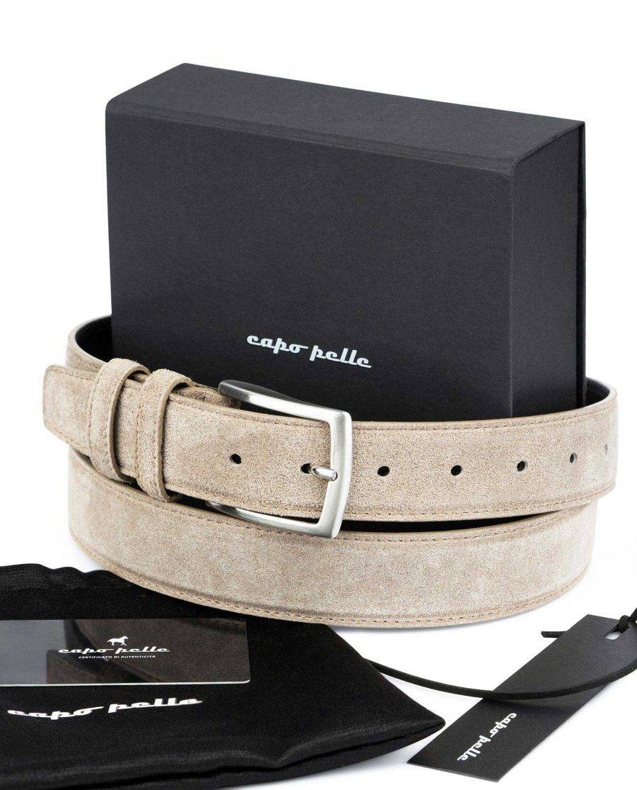 Birthday Gift For Male Friend Taupe Suede Belt