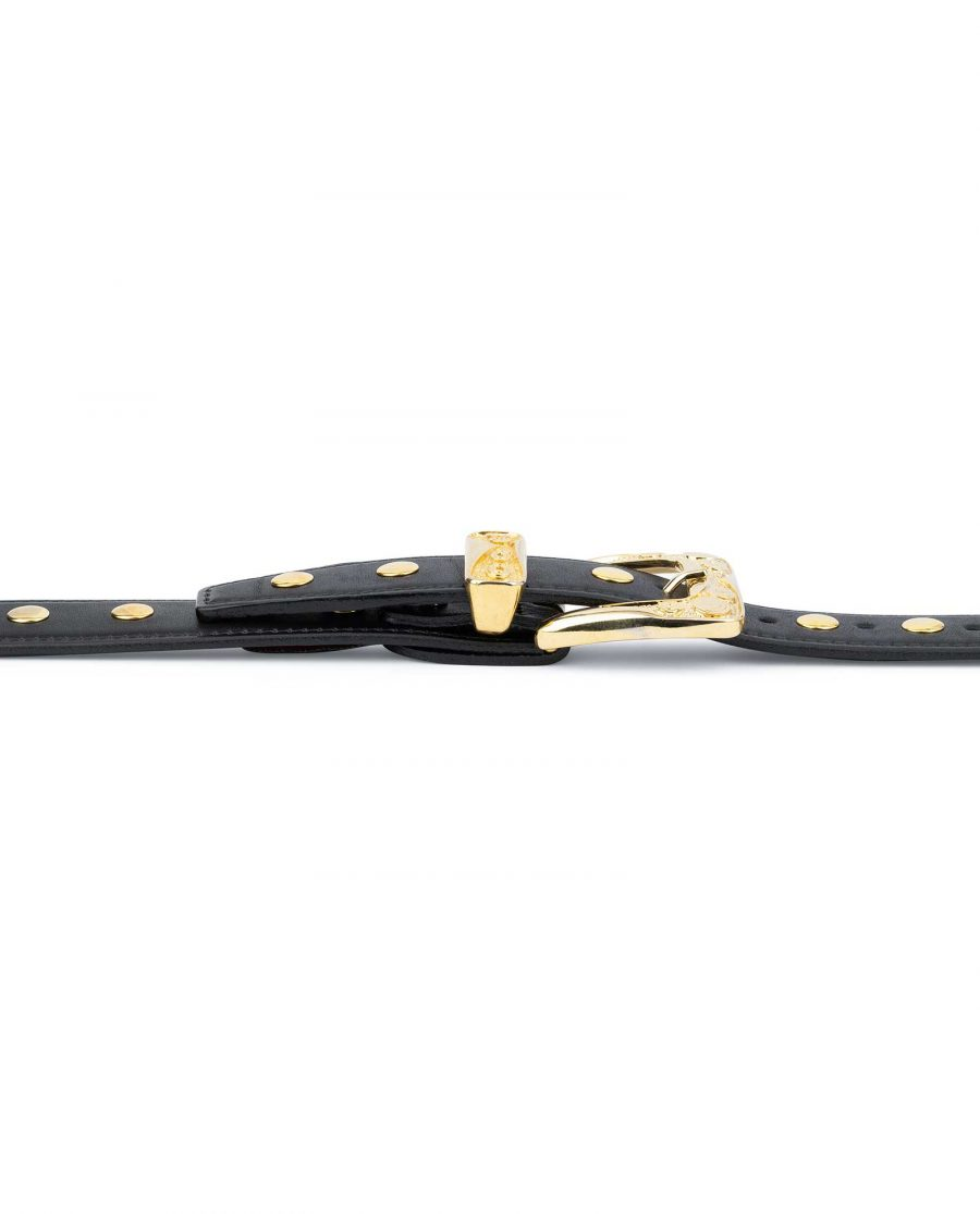 Black Gold Studded Belt Full Grain Leather 4