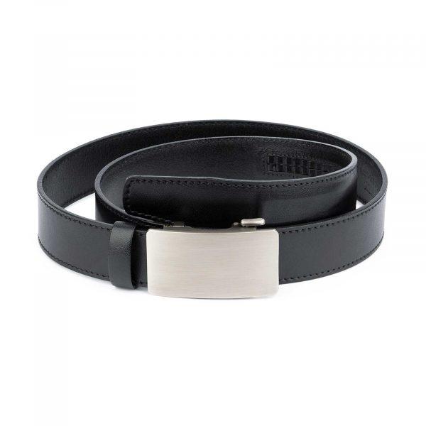 Black Ratchet Mens Belt Gray Rectangle Buckle 1