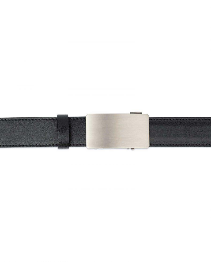 Black Ratchet Mens Belt Gray Rectangle Buckle 2
