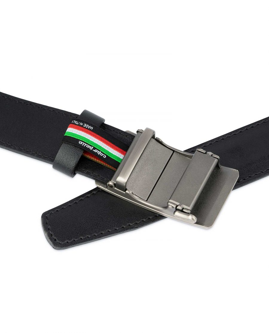 Black Ratchet Mens Belt Gray Rectangle Buckle 4