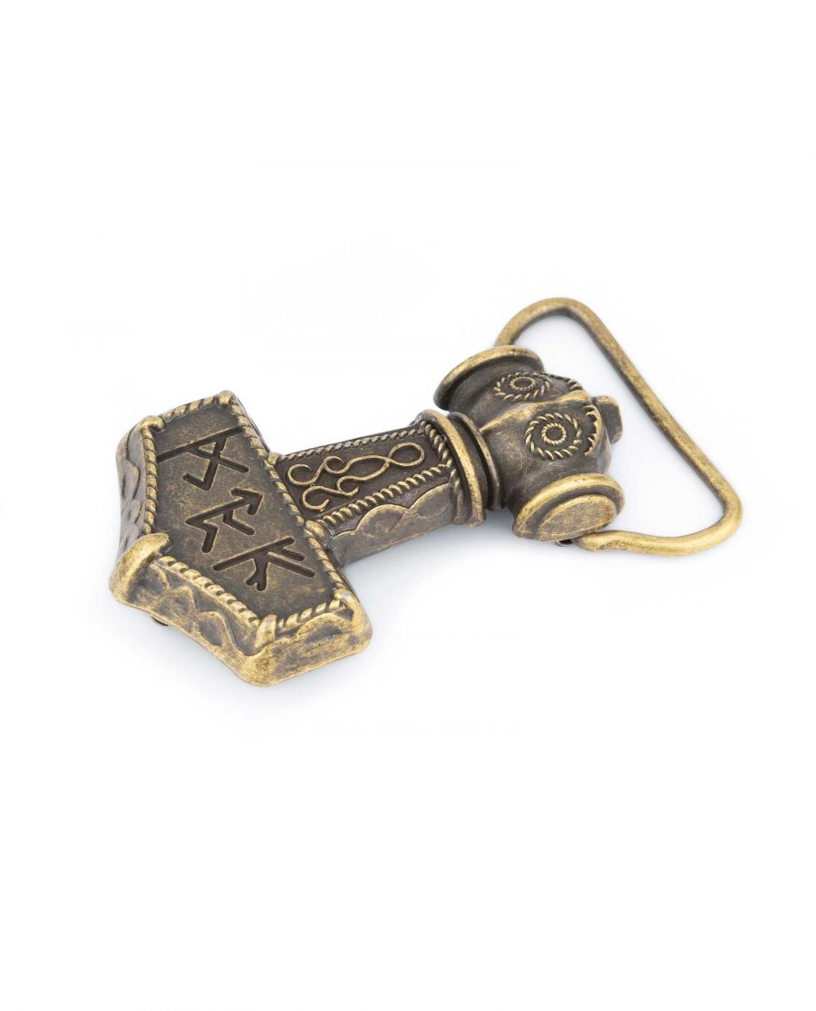 Bronze Viking Belt Buckle Thors Hammer Mjolnir 1