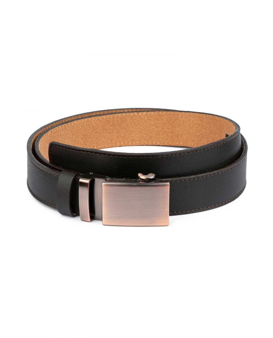 Brown Mens Click Belt With Copper Buckle 1