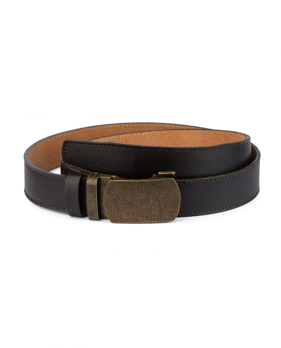 Brown Ratchet Strap Belt With Bronze Buckle 1