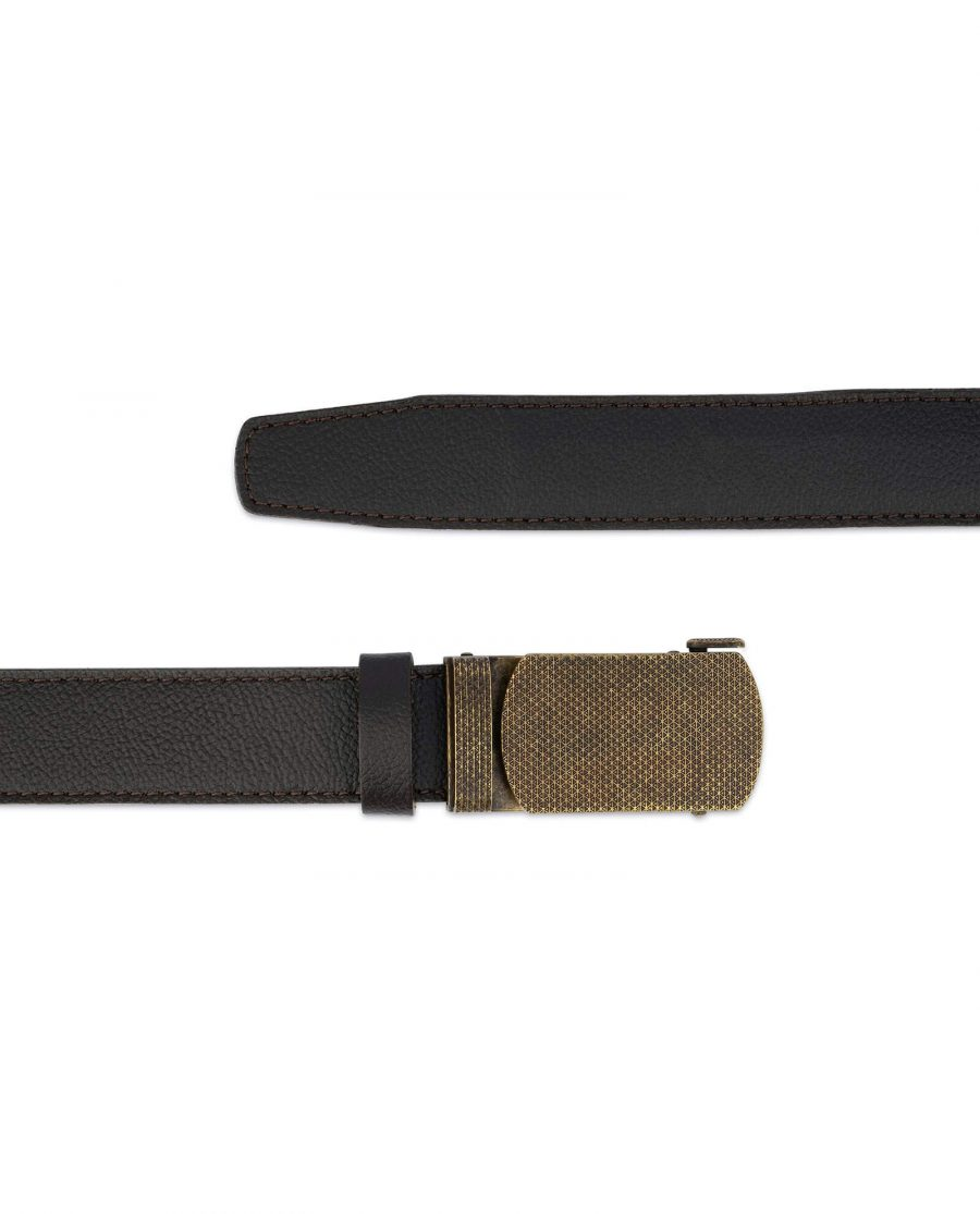 Brown Ratchet Strap Belt With Bronze Buckle 2