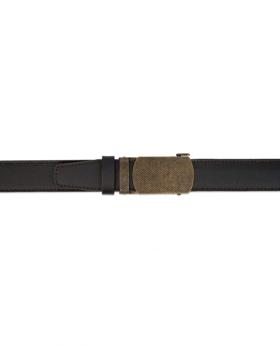 Brown Ratchet Strap Belt With Bronze Buckle 3