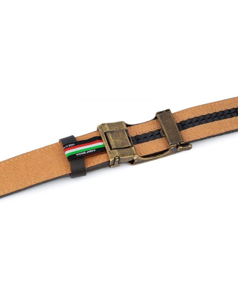 Brown Ratchet Strap Belt With Bronze Buckle 4