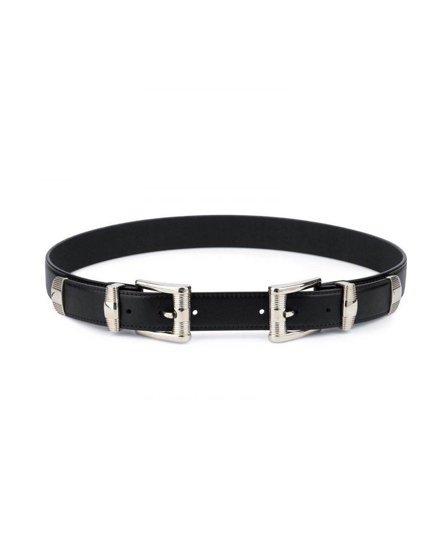 Double buckle belt Western belts for women Belt with two buckles Full grain Leather belt 1