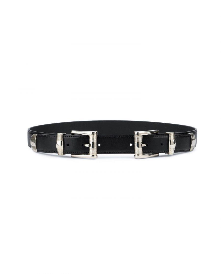 Double buckle belt Western belts for women Belt with two buckles Full grain Leather belt 2
