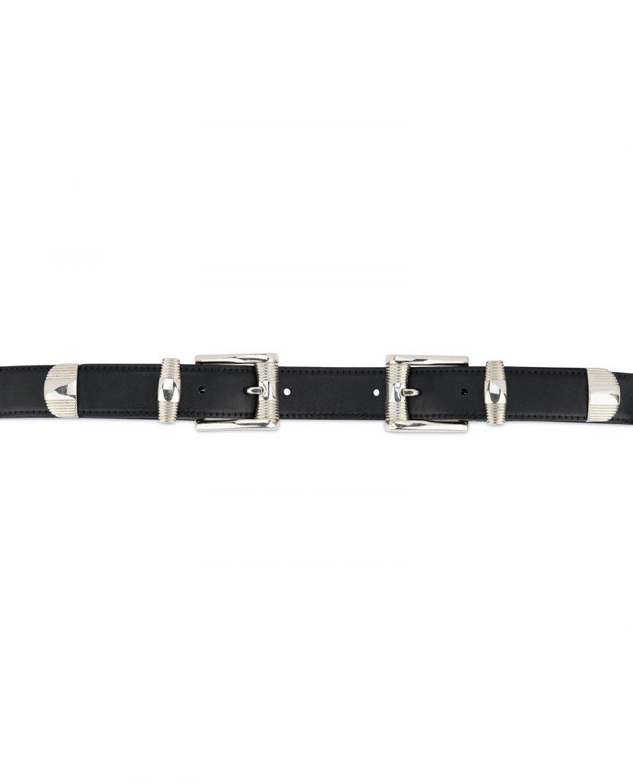 Double buckle belt Western belts for women Belt with two buckles Full grain Leather belt 6