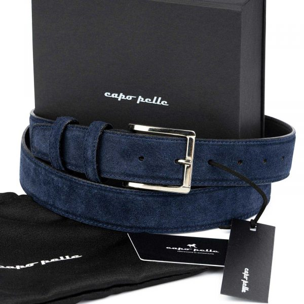 Fathers Day Gift Blue Suede Belt
