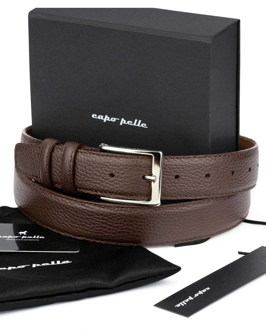 Gift For Dad Brown Leather Belt