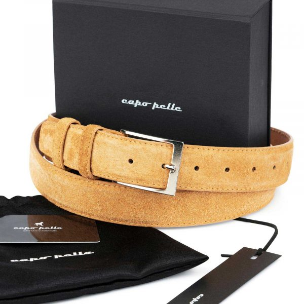 Good Fathers Day Gift Camel Suede Belt