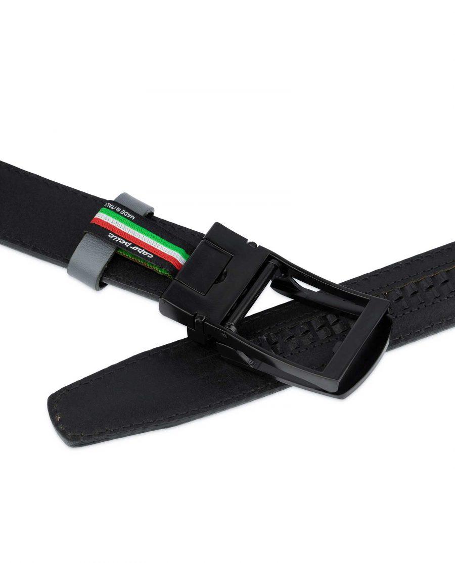 Gray Mens Comfort Click Belt Black Buckle 4