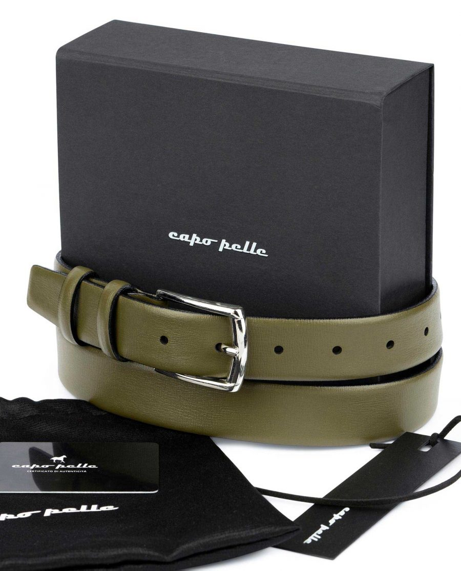 Leather Gifts For Him Olive Green Belt